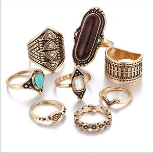 Jewelry - 8 piece gold Toned Midi Knuckle rings brown